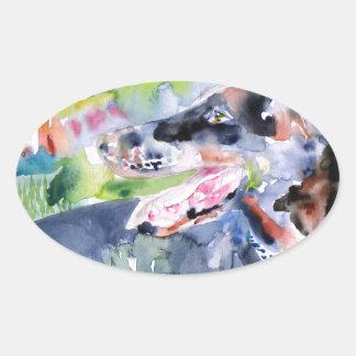 Sticker Ovale aquarelle DOBERMANN