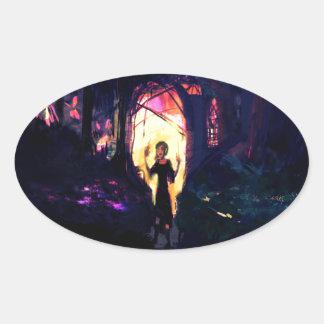 Sticker Ovale Arborétum de sorcière d'autocollant (ovale) - par