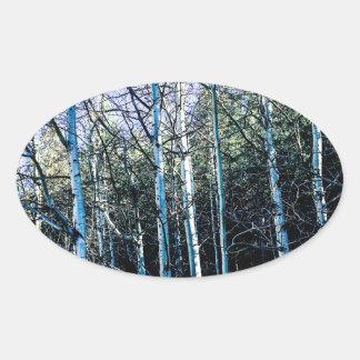 Sticker Ovale Arbres d'Aspen en automne