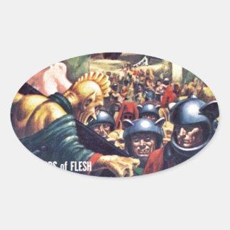 Sticker Ovale Armée avec des casques de Funn y