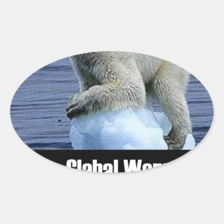 Sticker Ovale Arrêtez le réchauffement climatique maintenant