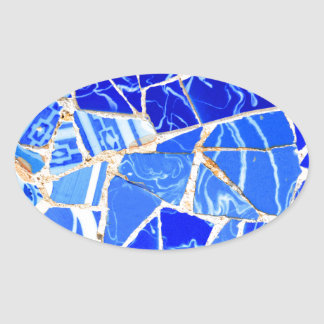 Sticker Ovale Arrière - plan bleu abstrait