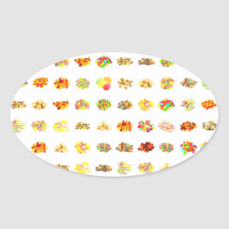 Sticker Ovale Arrière - plan sans couture de motif de sucrerie