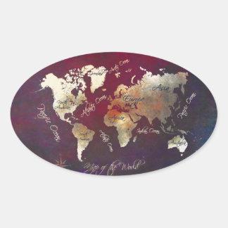 Sticker Ovale art de carte du monde