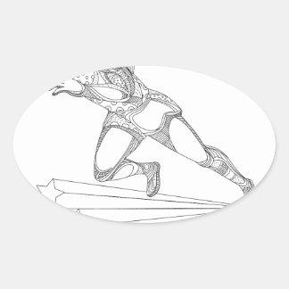 Sticker Ovale Art de griffonnage de fonctionnement d'athlète