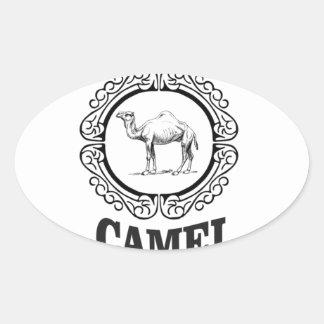 Sticker Ovale art de logo de chameau