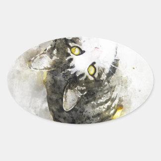 Sticker Ovale Art mignon d'aquarelle de chat tigré