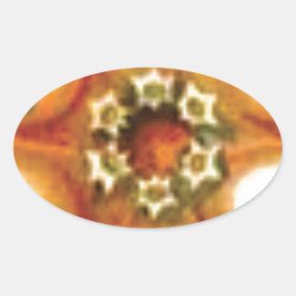 Sticker Ovale art orange de noyau
