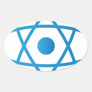 Sticker Ovale Atome d'isolement par résumé