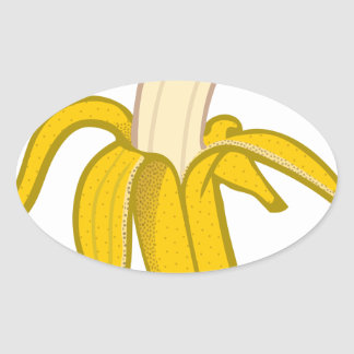 Sticker Ovale Banane épluchée