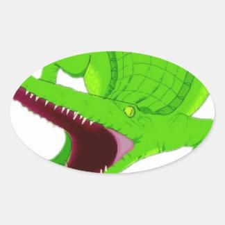 Sticker Ovale bande dessinée d'alligator