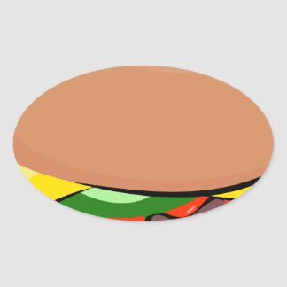 Sticker Ovale Bande dessinée de cheeseburger