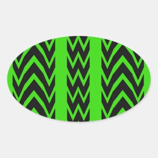 Sticker Ovale Battements de coeur verts et noirs