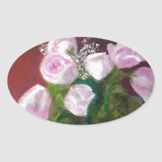 Sticker Ovale Beaux roses roses
