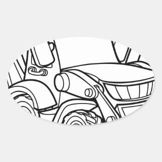 Sticker Ovale Bêcheur de bouteur de véhicule de bande dessinée