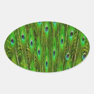 Sticker Ovale Belles plumes de paon