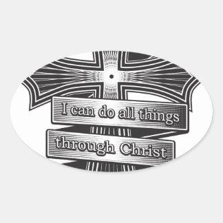 Sticker Ovale Bible de chrétien de 4h13 de Philippiens d'édition