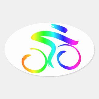 Sticker Ovale Bicyclette 2 d'arc-en-ciel