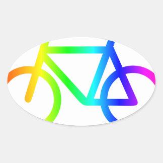 Sticker Ovale Bicyclette 3 d'arc-en-ciel