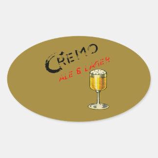 Sticker Ovale Bière de bière anglais de Cremo et blonde