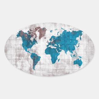 Sticker Ovale bleu blanc de carte du monde