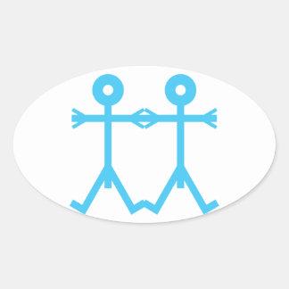 Sticker Ovale Bleu d'art d'icône d'hommes d'amour