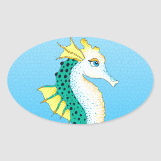 Sticker Ovale bleu turquoise d'hippocampe