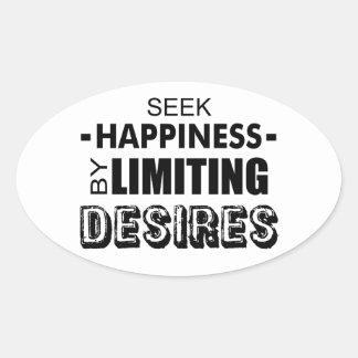 Sticker Ovale Bonheur de recherche en limitant des désirs