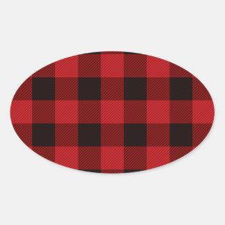 Sticker Ovale Bûcheron rouge de plaid de buffle de cottage