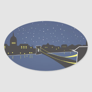 Sticker Ovale Budapest By Night