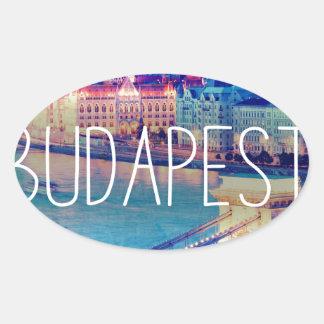 Sticker Ovale Budapest, vintage affiche