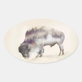 Sticker Ovale Buffle-double buffle-paysage exposition-américain