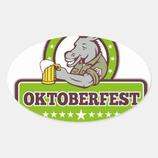 Sticker Ovale Buveur de bière d'âne Oktoberfest rétro