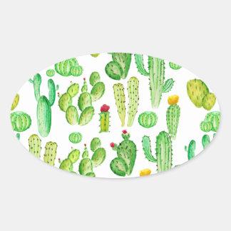 Sticker Ovale cactus d'aquarelle