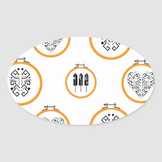 Sticker Ovale Cadres de broderie de tapisserie à l'aiguille