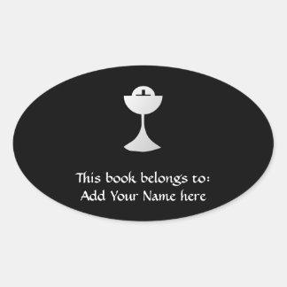 Sticker Ovale Calice et centre serveur argentés