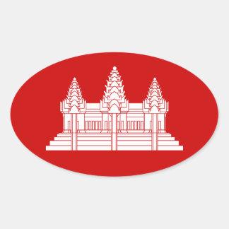 Sticker Ovale Cambodgien d'Angkor Vat/drapeau de Khmer