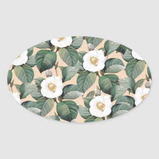 Sticker Ovale Camélia blanc sur le motif beige