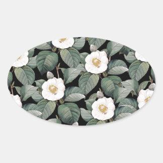 Sticker Ovale Camélia blanc sur le motif noir