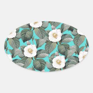 Sticker Ovale Camélia blanc sur le motif turquoise