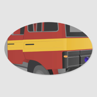 Sticker Ovale Camion de pompiers