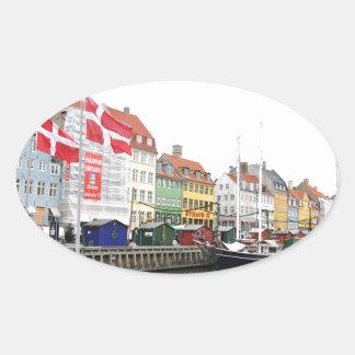 Sticker Ovale Canal de Nyhavn à Copenhague, Danmark
