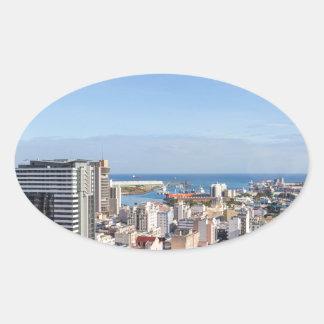 Sticker Ovale Capitale d'horizon de Port-Louis des Îles Maurice