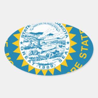 Sticker Ovale Carte de drapeau du Dakota du Sud