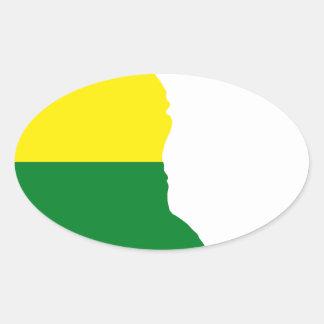 Sticker Ovale Carte de drapeau du Delaware LGBT