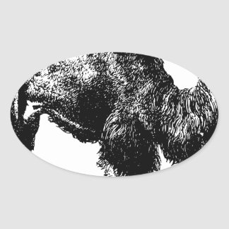 Sticker Ovale Chameau Bactrian