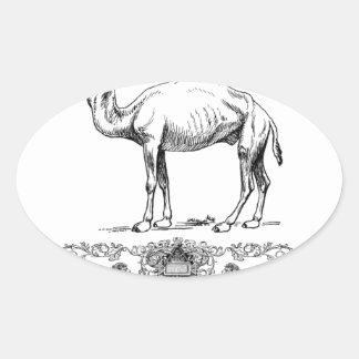 Sticker Ovale chameau de fantaisie de lion