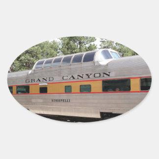 Sticker Ovale Chariot ferroviaire de canyon grand, Arizona