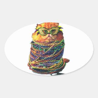 Sticker Ovale Chat de carnaval - chat coloré - chats drôles