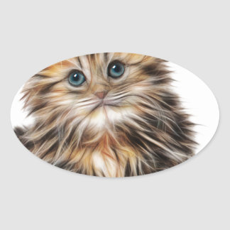 Sticker Ovale chaton